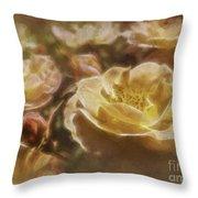 Peach Yellow Roses Throw Pillow