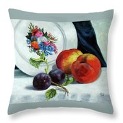 Peaches And Plums Throw Pillow