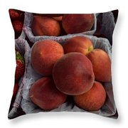 Peaches And Strawberries Throw Pillow