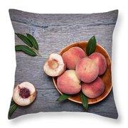 Peaches On A Dark Wooden Background Throw Pillow