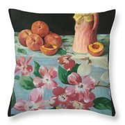 Peaches On Floral Tablecloth Throw Pillow