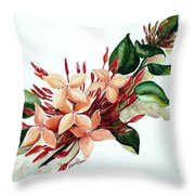 Peachy Ixora Throw Pillow