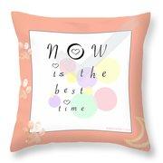 Peachy Pink Wabi Sabi Time Throw Pillow