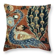 Peacock Among Flowers Throw Pillow