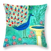 Peacock And Birdbath Throw Pillow