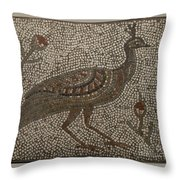 Peacock And Flowers Throw Pillow