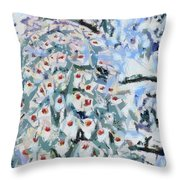 Peacock Blue Fragmented And Vegged Out Throw Pillow