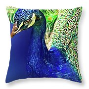 Peacock Blued Throw Pillow