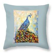 Peacock Colors Throw Pillow