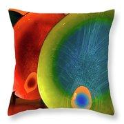 Peacock Colors Throw Pillow by Farah Faizal