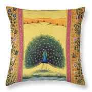 Peacock Dancing Painting Flower Bird Tree Forest Indian Miniature Painting Watercolor Artwork Throw Pillow