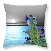Peacock Fantasy Throw Pillow