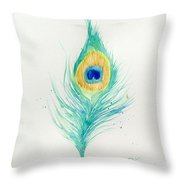 Peacock Feather 2 Throw Pillow
