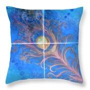 Peacock Feather Abstract Throw Pillow