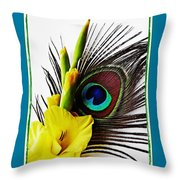 Peacock Feather And Gladiola 3 Throw Pillow