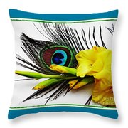 Peacock Feather And Gladiola 4 Throw Pillow