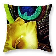 Peacock Feather And Gladiola Throw Pillow