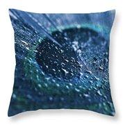Peacock Feather Macro Waterdrops Throw Pillow
