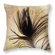 Peacock Feather Silhouette Throw Pillow