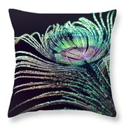 Peacock Feather With Dark Background Throw Pillow