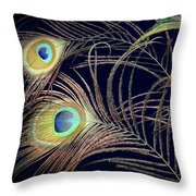 Peacock Feathers -1 Throw Pillow