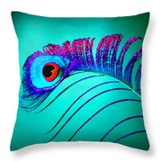 Peacock Feathers 5 Throw Pillow