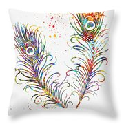 Peacock Feathers-colorful Throw Pillow
