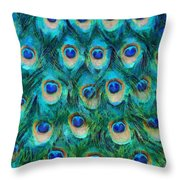 Peacock Feathers Throw Pillow by Nikki Marie Smith