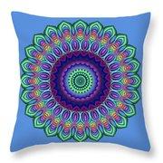 Peacock Fractal Flower 5 Throw Pillow
