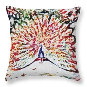 Peacock Fragmented And Vegged Out Throw Pillow