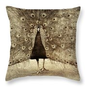 Peacock Grunge Throw Pillow