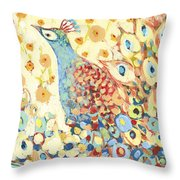 Peacock Hiding In My Poppy Garden Throw Pillow by Jennifer Lommers