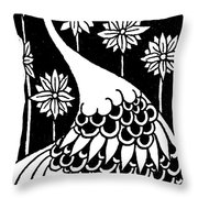 Peacock Illustration From Le Morte D'arthur By Thomas Malory Throw Pillow
