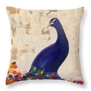 Peacock In My Garden Throw Pillow