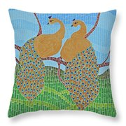 Peacock Love Throw Pillow