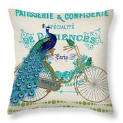 Peacock On Bicycle-jp3608 Throw Pillow