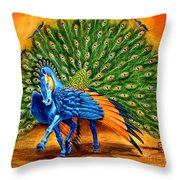 Peacock Pegasus Throw Pillow