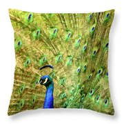 Peacock Prancing Throw Pillow