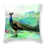 Peacock Water Digital Painting  Throw Pillow
