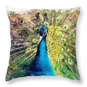 Peacock Watercolor Painting Throw Pillow