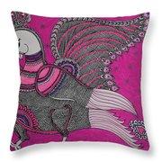 Peacock_pink Throw Pillow