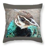 Peacocks Eye View Throw Pillow