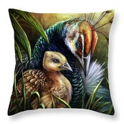 Peahen And Chick Throw Pillow