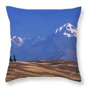 Peaks And Fields Near Cusco Peru Throw Pillow