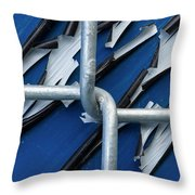 Pealing Paint Fence Abstract 5 Throw Pillow