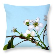Pear Tree Blossoms 4 Throw Pillow