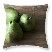 Pear Trio Muted Throw Pillow