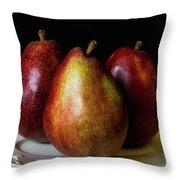 Pear Trio Still Life Throw Pillow