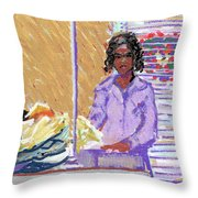 Pearl At The Clothes Press Throw Pillow