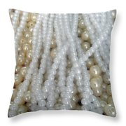 Pearl Beads - White And Beige Throw Pillow